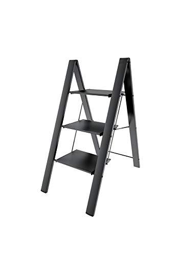 Sgabello scaletta sottile e compatta in alluminio anodizzato nero svelt aero light 3 gradini. ideale per uso domestico e 'fai da te'.