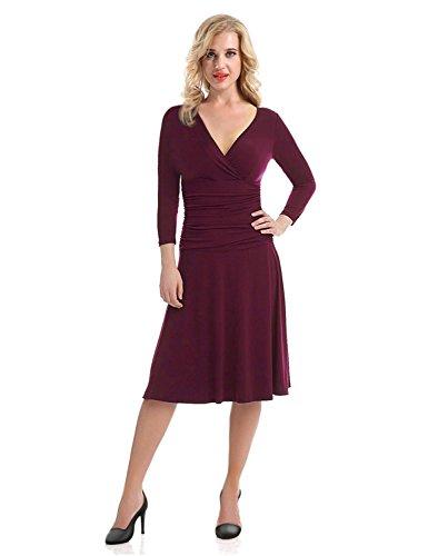 Flying Rabbit Elegant Kleider Damen A-Linie Kleid Slim Fit V-Ausschnitt Abendkleider Crossover 3/4...