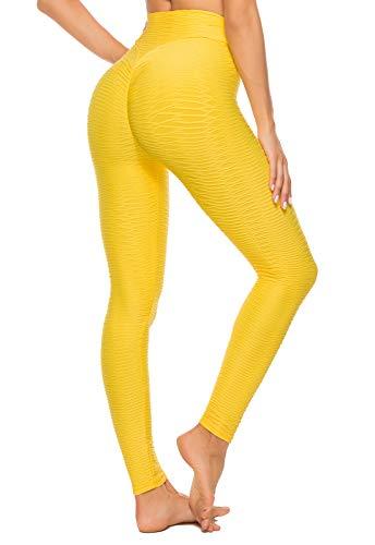 FITTOO Mallas Leggings Mujer Pantalones Deportivos Yoga Alta Cintura Elásticos y Transpirables Amarillo S