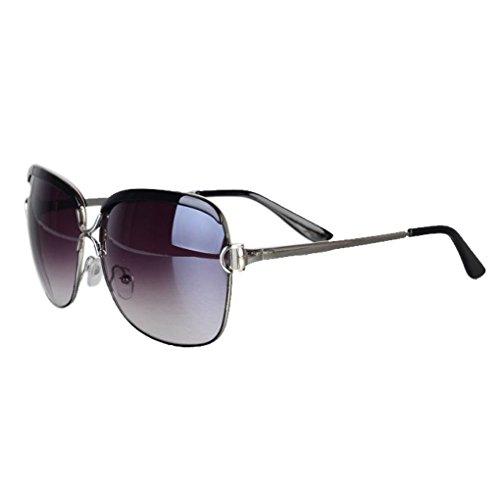 Providethebest Quadratische Frauen-Mädchen-UV400 Schutz Sonnenbrillen Brillen-Harz-Objektiv-Metallrahmen-Gläser Retro Mode Brillen schwarzer Rahmen