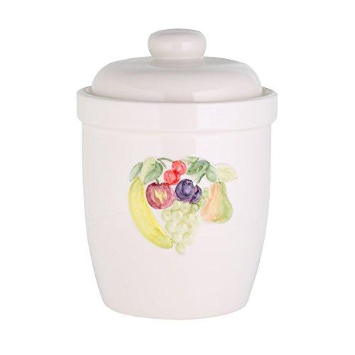 Rumtopf Gurkentopf Gärtopf Einlegetopf 5 Liter mit Deckel Ø 21 cm- praktischer Mehrzwecktopf, Keramiktopf zum Gärren aus weißem Keramik mit Früchte Dekor