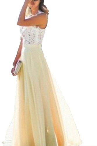 SHUNLIU Damen Elegant Ärmellos Kleider Chiffon Spitzenkleid Maxikleid Abendkleid Cocktailkleid Gelb
