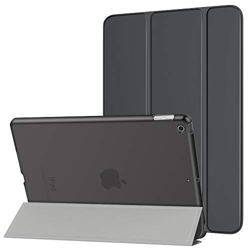 """MoKo Hülle für Neu iPad 10.2 2019, PU Leder Tasche Schutzhülle mit Transluzent Rücken Deckel Auto Schlaf/Wach Funktion für iPad 7. Gen 10.2\"""" 2019 Tablet - Space Grau"""