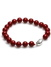 Schmuckwilly Muschelkernperlen Perlenarmband Perlen - MuschelkernPerlen Armband rot Hochwertige mb0028