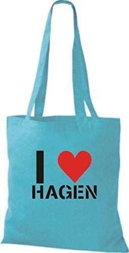 Tote Bag Shirtinstyle Ti Amo Hagen Tua Città Color Cielo Blu