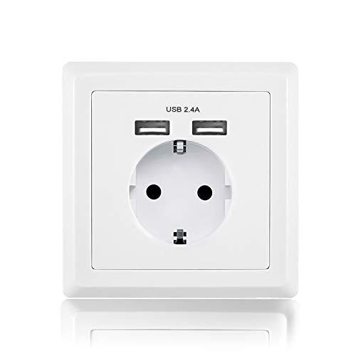 benon Wand-Steckdose mit USB Weiß, mit Überlastschutz - 2.4A USB (5V), max. 3680W - Steckdose Wand-adapter Mit Überspannungsschutz