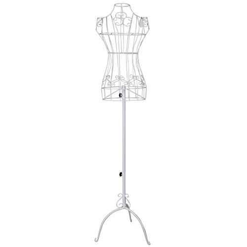 Songmics Maniquí busto femenio de metal Perchero de vestido blanco 170 cm HRA10W