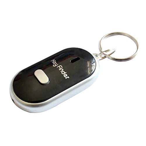 Pudincoco Anti-Perdu Key Finder Smart Find Locator Keychain Sifflet Bip Contrôle Du Son LED Lampe Torche Portable Clé De Voiture Finder (noir)