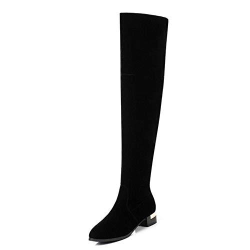 NAFTY Damenschuhe Boots Über Knie Stiefel Stickerei Winter Frau Schuhe Reißverschluss Pelz Warme Lange Stiefel Damen Schuhe, Schwarz, 10 -