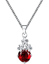 Glitz Womens Silver-Plated Flower Jewellery Blue Crystal WaterDrop Pendant Necklace For Girls
