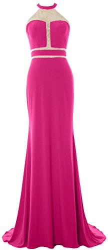 MACloth Women Mermaid Prom Gown Halter Jersey Sexy Evening Formal Party Dress Fuchsia