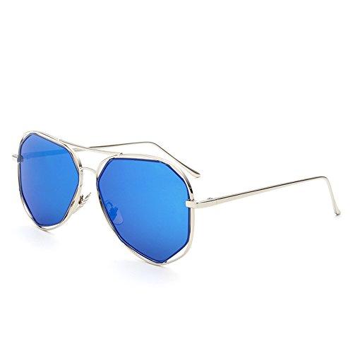 Mirror Schutzbrille Blue (FEIFEI Frau Lange Gesicht Sonnenbrille Mode Persönlichkeit Schutzbrillen Polarisierte Licht Outdoor Driving Mirror Drive Reise Shopping Sonnenbrille Strand Spiegel Farbe Film Sonnenbrille ( Farbe : Blau ))