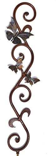 Livingdesign Edelrost Stab mit Schmetterling, 900mm aus Metall - Glanz lackiert, in liebevoller Handarbeit gefertigt!