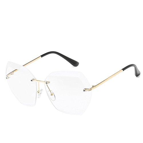BESTSOON UV-Schutz im klassischen Stil Marine Sonnenbrille 7741 Trendy Brille Trim Damen Sonnenbrille Rahmenlose Sonnenbrille aus Metall Radfahren Laufen Fahren Angeln Brille (Farbe : Weiß)