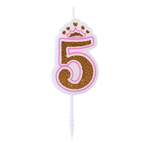 Crown Dekoration Geburtstagskerzen Anzahl Kerzen Happy Birthday Kerzen für Kinder Geburtstagsparty Kuchen Dekor (Number 5) ()
