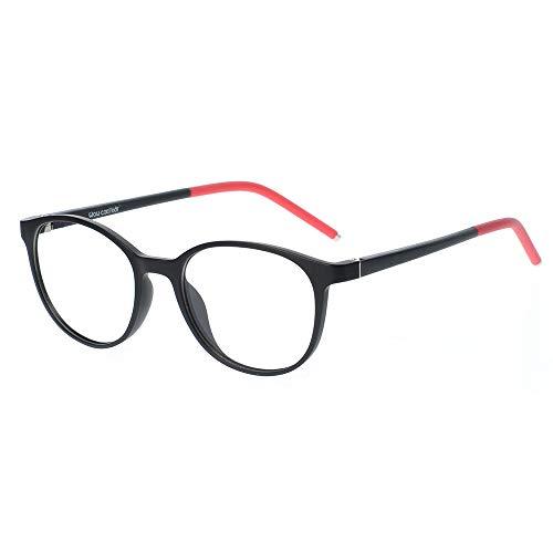 Kinder Kids Brille Teenager Gestell Fassung schick biegsam niedlich Brillenrahmen Gläser klar, ungeschliffen und rund für Jungen Mädchen (Alter 5-12 Jahre) (WMB01-04 C1H)
