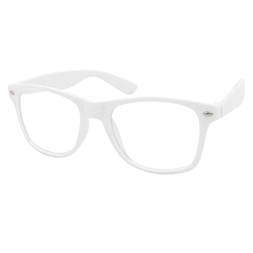 Mode Spaß Unisex Klare Linse Nerd Geek Gläser Brille (Weiß)