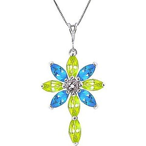 QP joyeros diamante Natural, azul topacio y collar con colgante en circonitas 9ct oro blanco - 1.98ct 2256 W