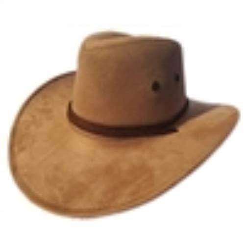 ren Cowboyhut Outdoor Flache Krempe Künstliche Wildleder Breiter Krempe Western Cowboyhut Cowboy Kostüm Hut, Khaki ()