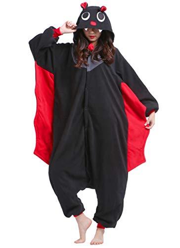 Pigiama Anime Cosplay Halloween Costume Kigurumi Attrezzatura Adulto Animale Onesie Unisex, Pipistrello per Altezze da 140 a 187 cm