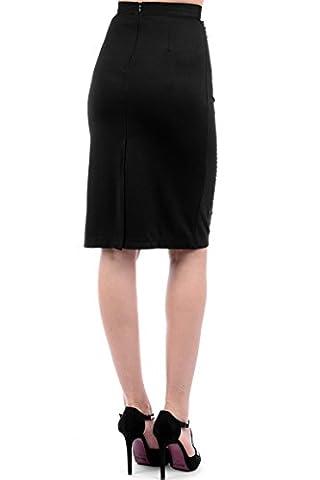 Bodycon Midi Skirt with Embellishment Black S/M - UK- (8-10)