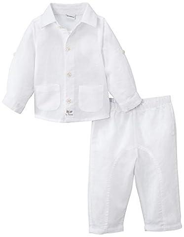 3 Pommes Baby Boys 0-24m Veste+Pantalon Plain Lingerie Set, White,
