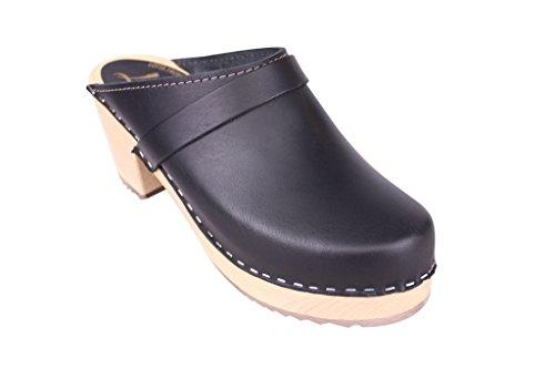 Lotta From Stockholm - Schwedenclogs mit hohem Absatz - klassischer Stil - schwarzes Leder - Größe EUR 42 (Skandinavische Fußbett)