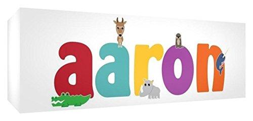 Feel Good Art Galerie verpackt Leinwandbild für Kinderzimmer, die Solide Front Panel rechteck Design Cute Illustrationen und Boy 's personalisiert mit Name (30x 84x 4cm, groß, Aaron) - Aaron Wall