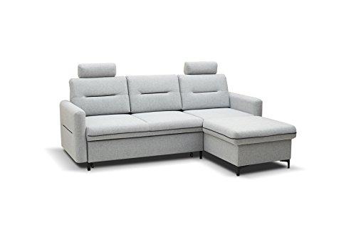 mb-moebel Kleines Ecksofa Eckcouch mit Bettkästen mit Schlaffunktion Soft Couch Wohnlandschaft L-Form Polsterecke Grau Brasil (Ecksofa Rechts)