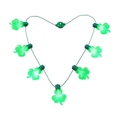 Amosfun St. Patricks Tageshalskette Führte Helle Halskettengrünklee-Schnurverzierung für Partyfestival-Feiertagsdekoration