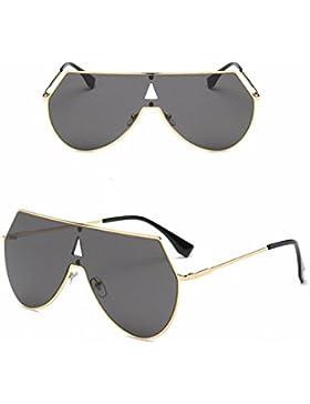 Gafas de Sol Unisex de la Gafas de Sol Lente Gris Negro Marco Gris