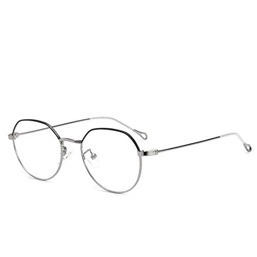 Sakuldes Retro Halbkreisbrille aus Metall, unregelmäßig, Nicht verschreibungspflichtige Brille für Damen und Herren Silber