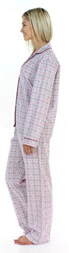 PajamaMania Schlafanzug für Damen aus Flanell mit langen Ärmeln Pyjama Rosa Kreise