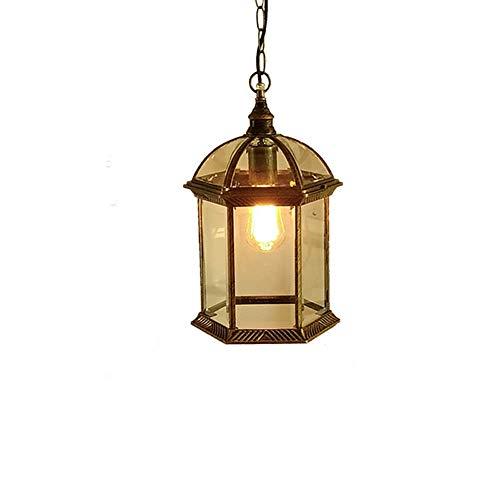 ♪ Outdoor-Kronleuchter Garten Hof Lampe Außenansicht Traube Wasserdicht E27 Deckenpendelleuchte Vogelkäfig Hängelampe American Retro Vintage Classic Pendelleuchte (Farbe: Bronze-L-Chandelier) ♪ -