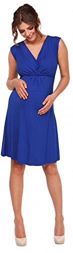 Happy Mama. Donna Vestito prémaman per l'allattamento Abito scollo strati. 808p Blu Royal