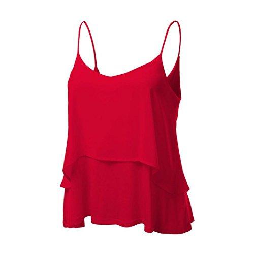 Fuibo Damen Tank Tops, Frauen Ärmellos Neckholder Tank Crop Tops Weste Bluse T-Shirt | Damen Bluse Weste Bluse Vest (XL, Rot) (Tank Top Dance)