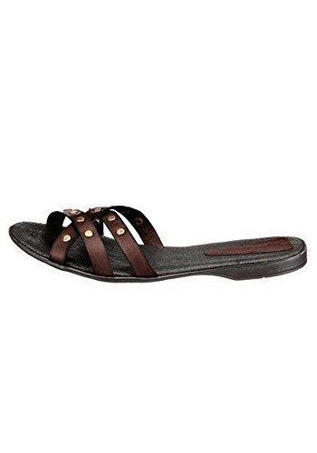 Pantofole Donna Pelle di Eddie Costruttore Marrone