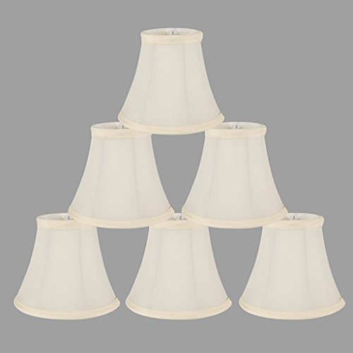 Chandelier shades amazon onepre cream linen clip on lamp shades small candle chandelier lampshade bell 6 inch set of 6 aloadofball Choice Image