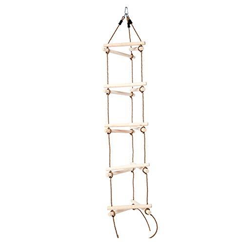 ZJY Escalera de Cuerda, Columpio de Escalada para niños, 3 en 1 Cuerda de PE Duradera Capacidad de Soporte de Madera en negrilla 150 KG Calidad en el Patio de recreo Equipo 82 pulg.