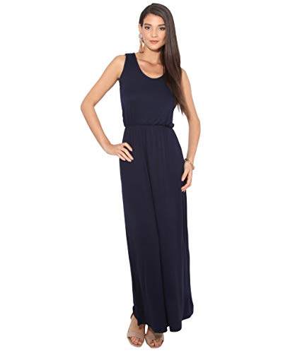 3288-NVY-16: Sommer Maxi Kleid Strandkleid Ärmellos: Marineblau (3288) 44