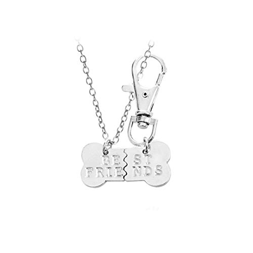 Fliyeong Premium Qualität Knochen geformt Beste Freunde Gravierte Nähte Anhänger Halskette und Schlüsselanhänger Set Kreative Schöne BFF Halskette Und Schlüsselanhänger Freundschaft Set Hund Liebhab -