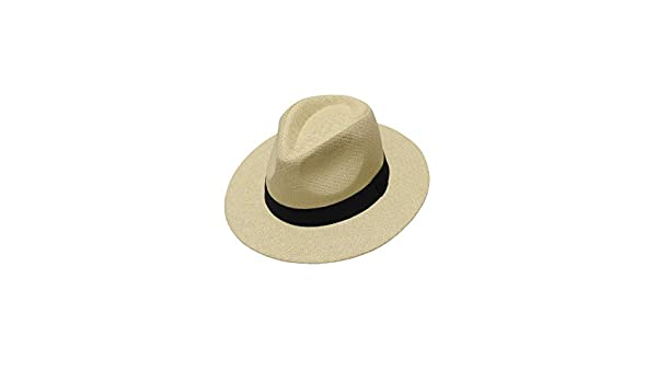 seemeinthat Traditional Official Panama Straw Hat Light Beige Black Ribbon Band Foldable Trilby Fedora Beach Summer Cricket