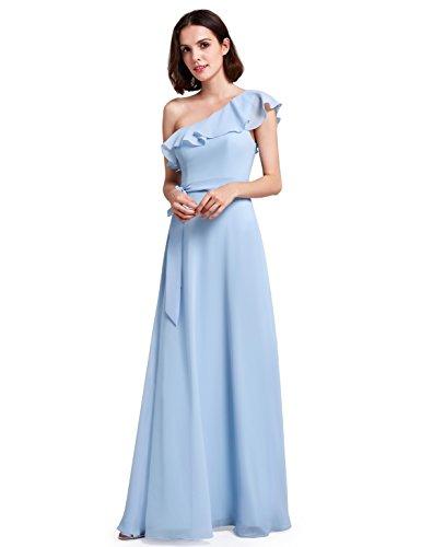 Ever Pretty Frauen Faszinierend Oblique Ausschnitt Rüschen Casual Brautjungfern Partykleid 48...