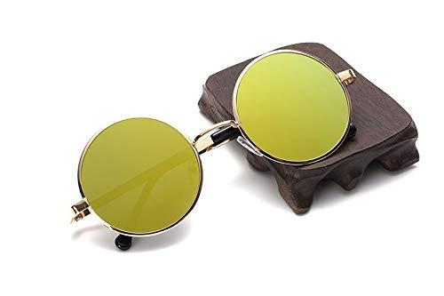 TYJMENG Sonnenbrillen Herren Sonnenbrillen Vintage Metall Männer Sonnenbrille Frauen Runde Sonnenbrille Retro Eyewear Top Qualität Uv400, Gold W Gelb Objektiv
