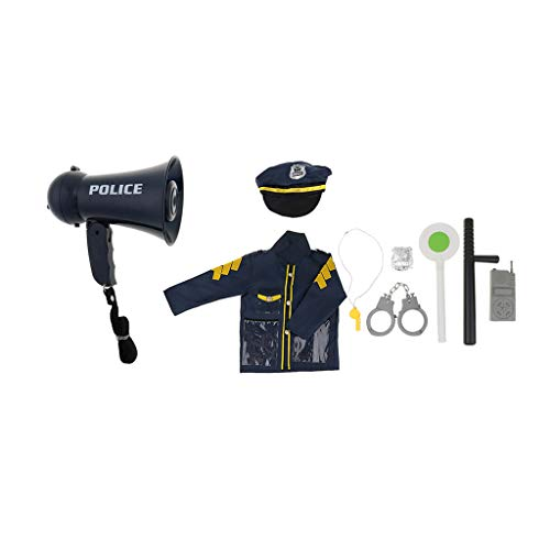 Homyl Kinder Polizei Spielzeug Set inkl. Kostüm + Polizei Mütze + Warnschild + Taktstock + Handschellen + Pager + Pfeife + Abzeichen + Megafon (Spielzeug Abzeichen Polizei)