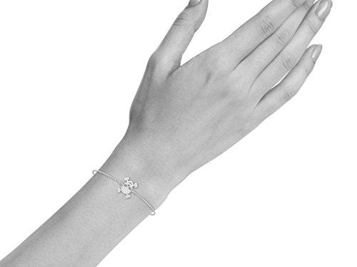 Or Blanc 9 ct Bracelet Diamant en forme de crâne, 0.02 Ct Diamant, GH-SI, 1.91 grammes.