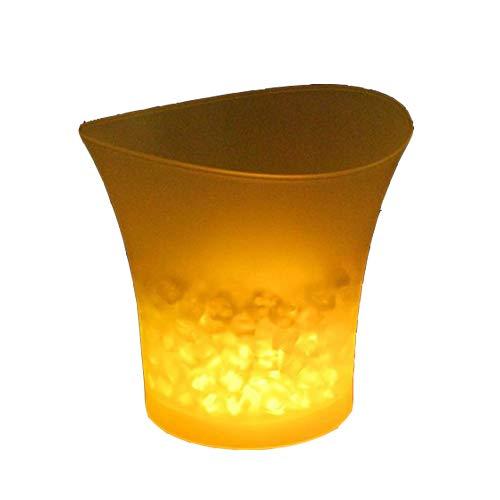 Codomoxo Eiswürfelbehälter, bunt, LED, Bar, Bier, Eiseimer aus Kunststoff, Rotwein, Champagner, transparent, leuchtend gelb