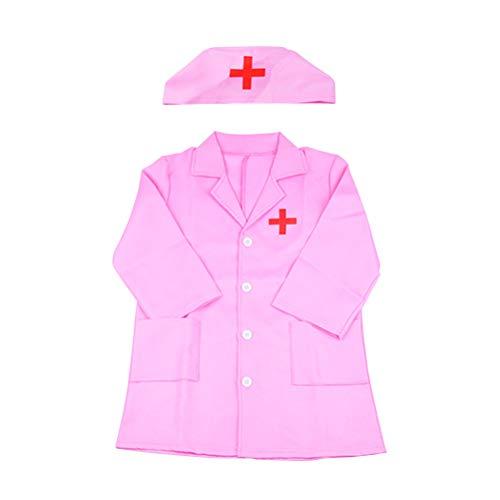 NUOBESTY Kinder Arzt Kostüm mit Kappe Kinder Laborkittel Langen Ärmeln Arzt Cosplay Kostüm Party Kostüm (Pink)