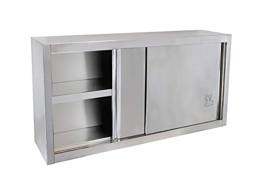 Beeketal \'BWS120\' Gastro Küchen Wandhängeschrank aus Edelstahl mit auf Rollen gelagerte Schiebetüren, Hängeschrank mit fest verbautem Einlegeboden - Außenabmessungen (L/B/H): ca. 1200 x 400 x 650 mm