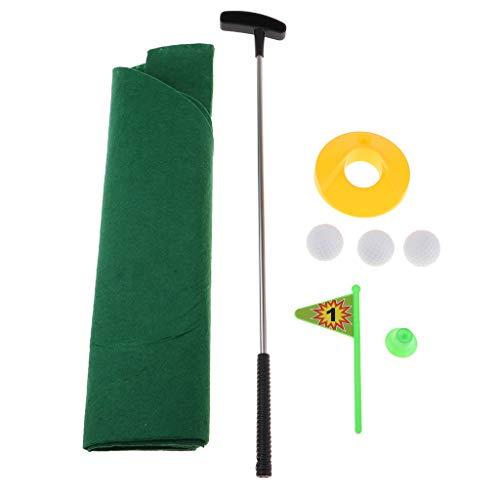 FLAMEER 8-teilige Mini Golf Golfspiel-Set für Bad & WC, inkl. Golfschläger, Golfbälle, grüne Matte, Golfloch, Flaggen und Golfsitz.